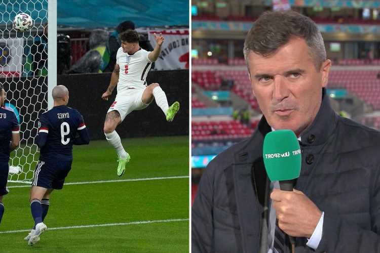 Roy Keane fuming at John Stones miss with Euro 2020 pundit adamant England ace 'has to score' header vs Scotland