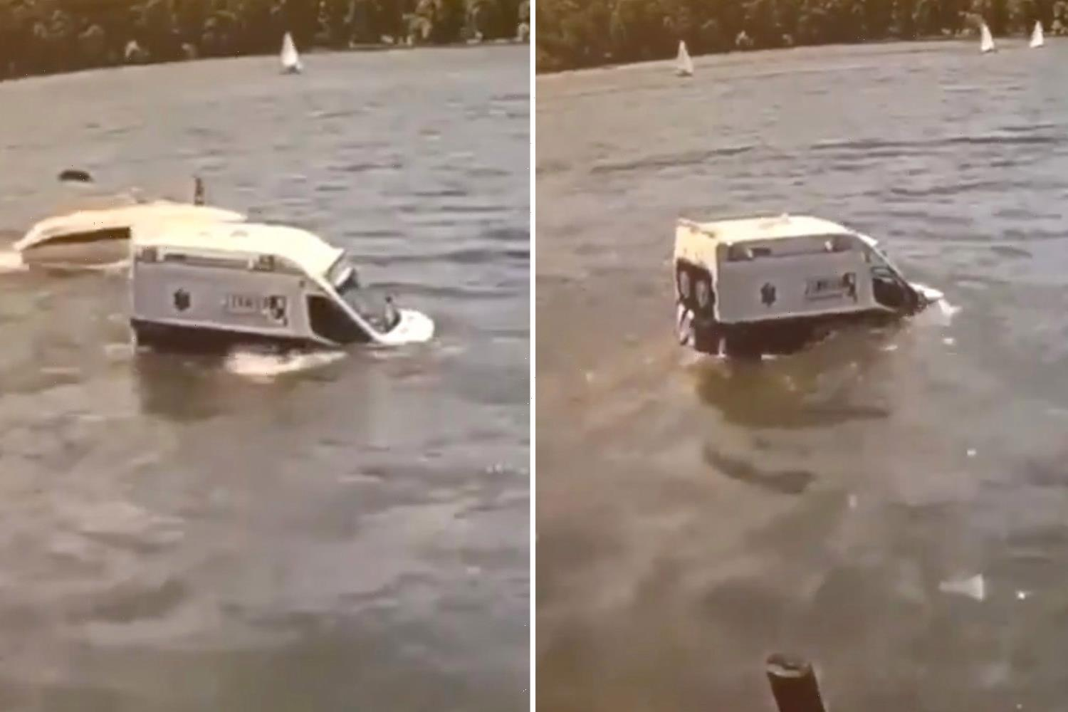Shocking moment suspect drives stolen ambulance into Irondequoit Bay during dramatic police chase in upstate New York