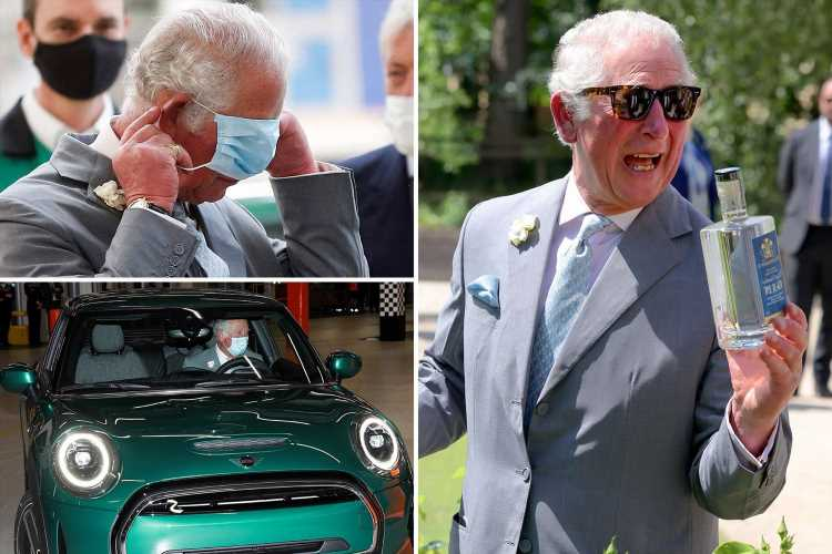 Smiling Prince Charles toasts granddaughter Lilibet's birth with bottle of gin on Mini factory visit