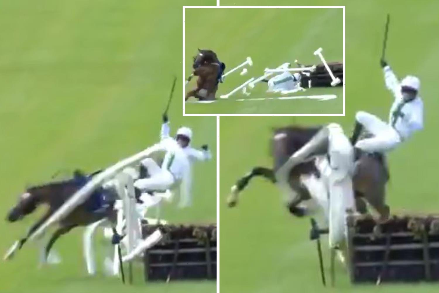 Watch as leading racehorse smashes through barrier and sends jockey flying in jaw-dropping final-flight carnage