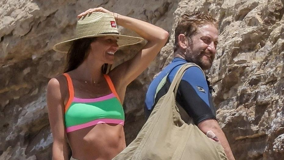 Gerard Butler hits the waves with longtime love Morgan Brown