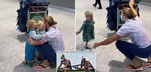 Glover is given an homecoming welcome by her children after Olympics