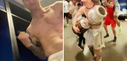Inside Argentina's wild dressing room party as topless Lionel Messi dances with Copa trophy as team sing his name