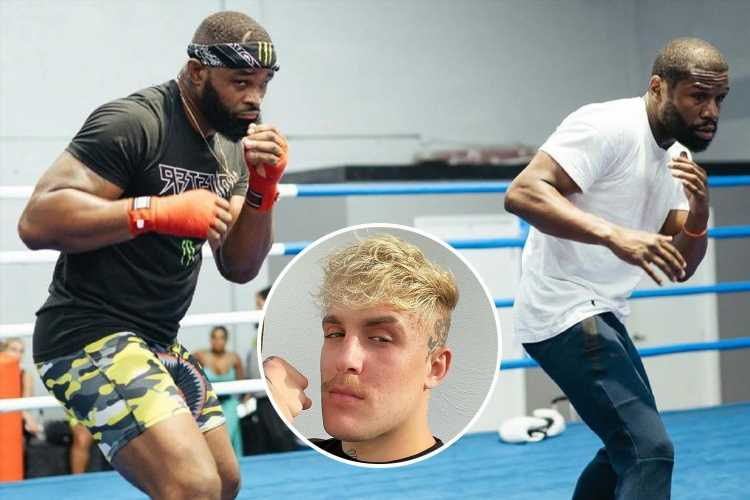 Jake Paul slams Floyd Mayweather helping UFC star Tyron Woodley train for their big fight and blasts shape he's in
