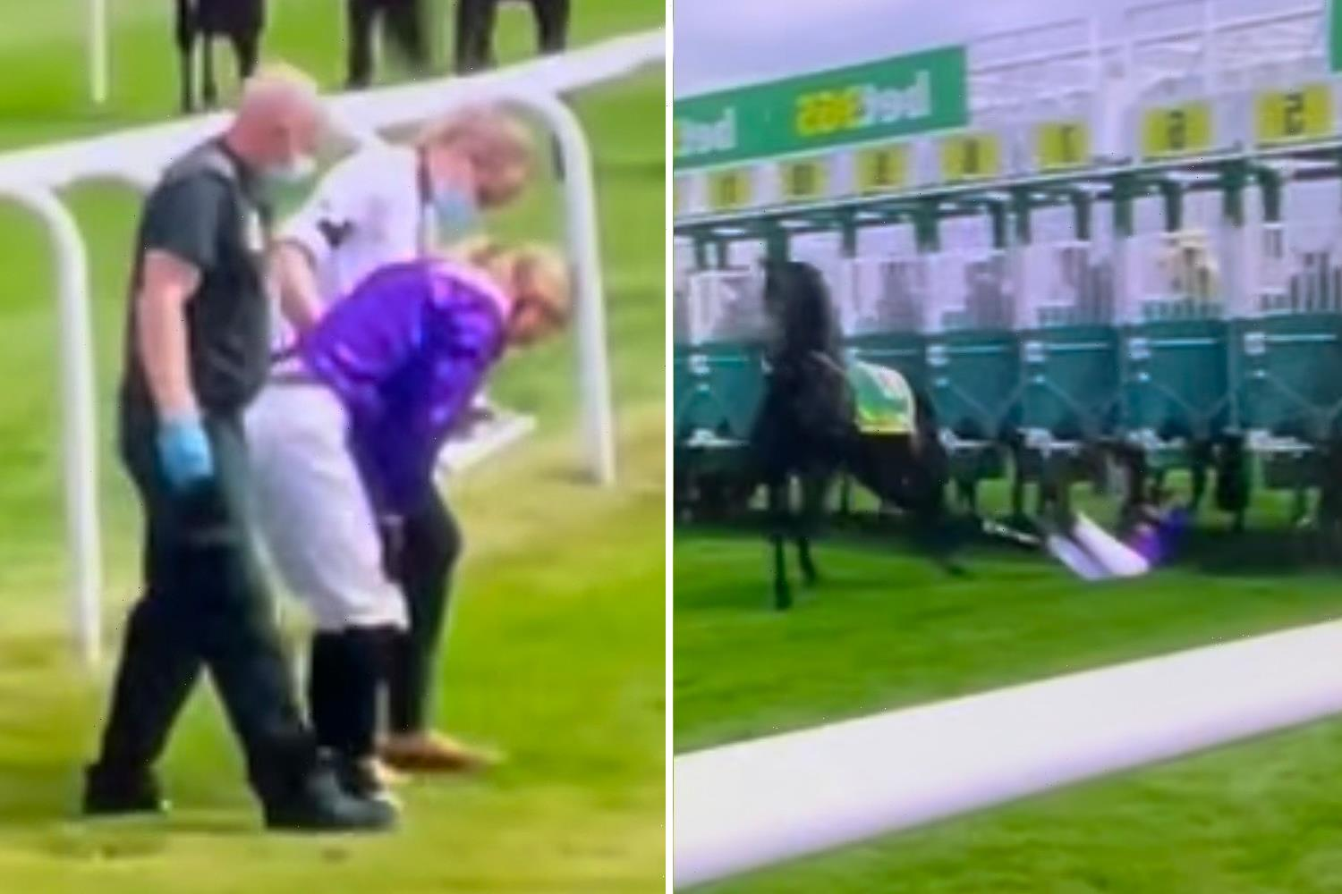 Jockey Saffie Osborne receiving medical treatment after being dragged under stalls by horse at Newmarket live on ITV