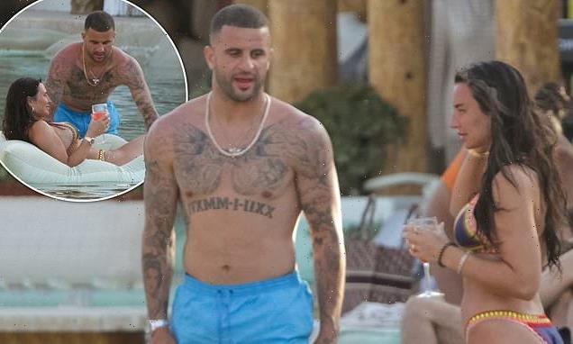 Kyle Walker joins bikini-clad fiancée Annie Kilner poolside in Mykonos