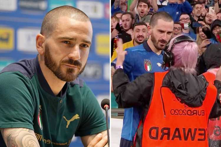 Leonardo Bonucci vows to hug 'cold' Wembley stewardess who tried to stop Italy star getting on pitch after Spain win