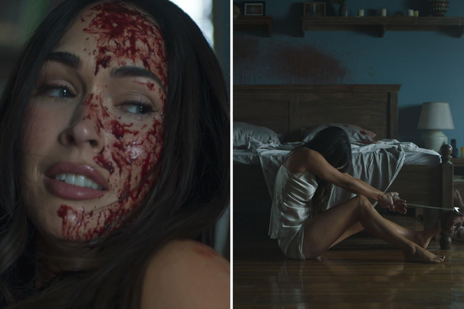 Megan Fox fights for her life in blood-soaked lingerie in first look at grisly comeback movie Till Death