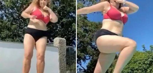 Nadia Sawalha reveals cruel bodyshaming when size 14 'f***ed her up for years' as she jubilantly dances in a bikini