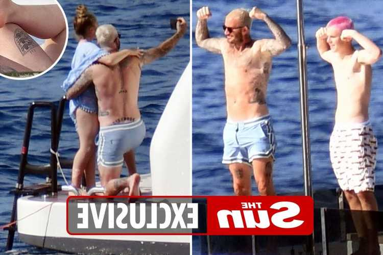 Topless David Beckham shows off new tattoo and blonde hair on yacht in Capri with Harper and Cruz