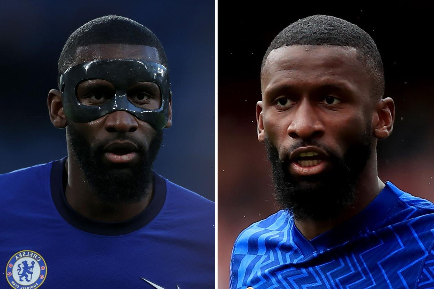 Chelsea star Antonio Rudiger STOPS wearing iconic mask three months after nasty facial injury
