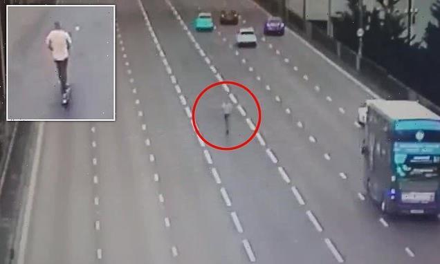 Drunken e-scooter rider caught walking along middle of motorway