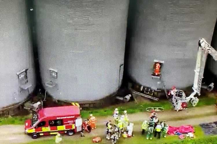 Farmer falls into an empty 40ft silo as massive rescue operation launched
