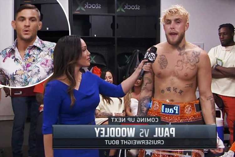 Jake Paul shows off ELECTRONIC shorts as UFC star Dustin Poirier visits YouTuber backstage before Tyron Woodley fight