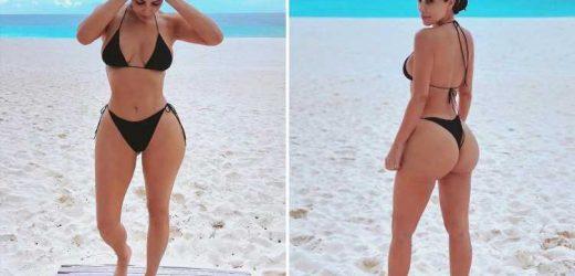Kim Kardashian shares photo of her bare butt in a thong bikini and jokes she has 'resting beach face'