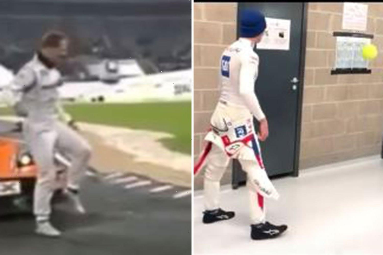 Mick Schumacher and Sebastian Vettel play football during F1 rain delay in poignant nod to what dad Michael used to do