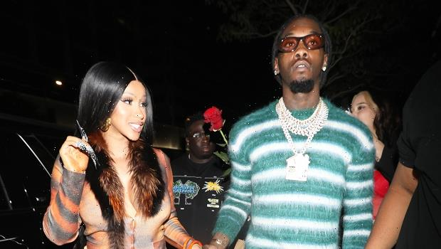 Pregnant Cardi B Shows Off Her Baby Bump In Colorful Catsuit As Offset Pats Her Butt — Photos