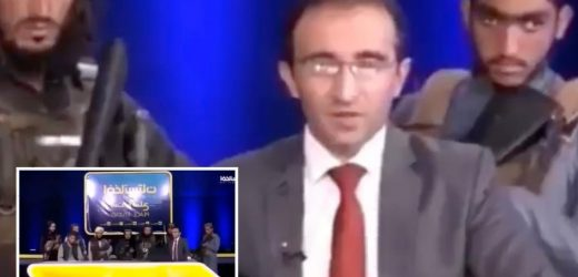 Shocking moment Taliban militants storm Kabul TV station to demand anchor praise Afghan terror group