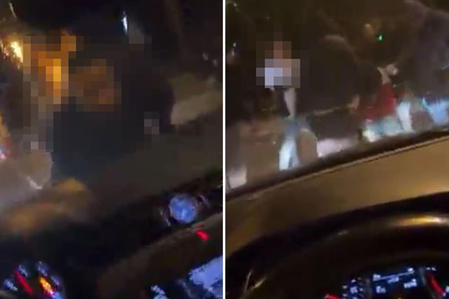Shocking moment laughing driver films himself mowing down brawling pedestrians 'like bowling pins'