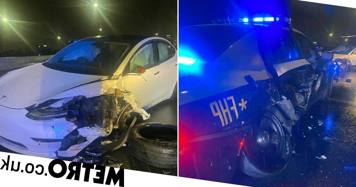 Tesla on autopilot crashes into police car and nearly hits officer