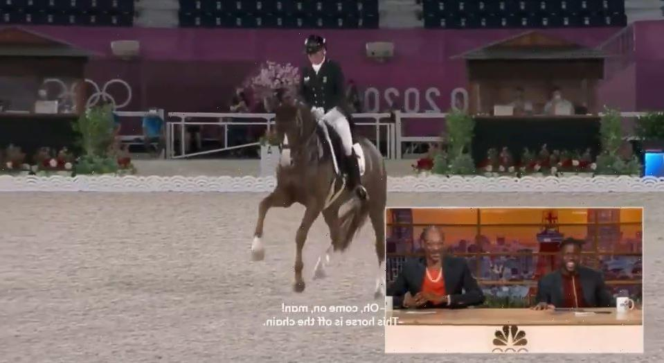 Watch Snoop Dogg's hilarious commentary on Olympic equestrian as rap legend jokes 'he's crip walking' as horse dances