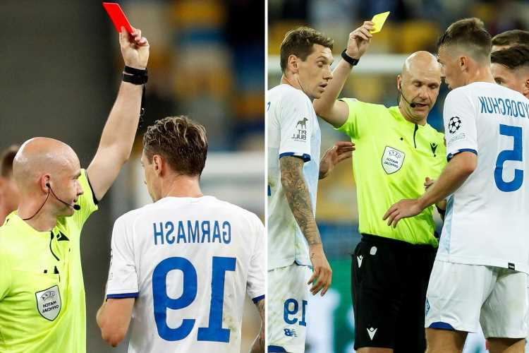 Anthony Taylor gaffe as he hands Dynamo Kyiv star Denys Garmash second yellow and red – but he hadn't been booked yet