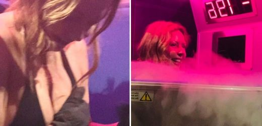 Carol Vorderman strips down to a bikini for bizarre beauty treatment