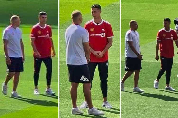 Cristiano Ronaldo spotted on Old Trafford pitch for first time after leaked photo with ex-Man Utd team-mate Wes Brown