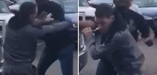 Driver batters man as woman screams 'stop it!' in London petrol station row and customer 'KOed' in South Wales