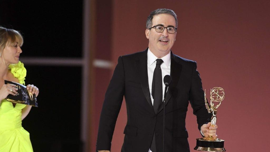 """John Oliver On Whether He'll Share His Emmy With Conan O'Brien: """"No, He Can Take It From My Cold, Dead Hand"""" – Emmys Backstage"""