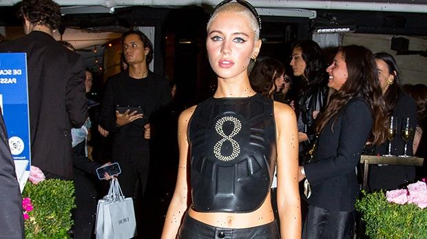 Jude Law's Daughter Iris, 20, Stuns In Leather Crop Top For Paris Fashion Week Party