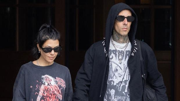 Kourtney Kardashian & Travis Barker Make Out All Over Paris After Scott Disick Shades Their PDA
