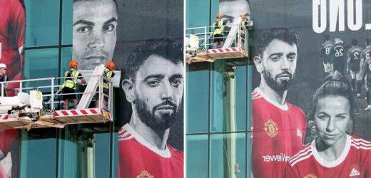 Man Utd plaster Cristiano Ronaldo's face on side of Old Trafford with huge mural alongside Portugal pal Bruno Fernandes
