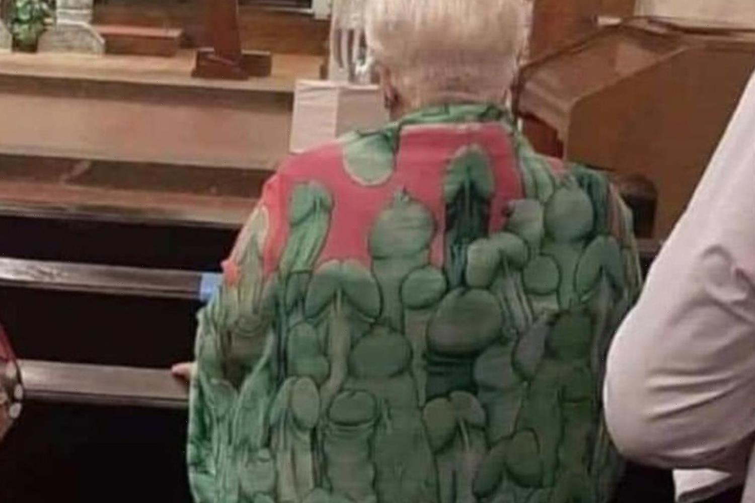 Nan mortified after realising that there's a VERY rude pattern on her favourite scarf