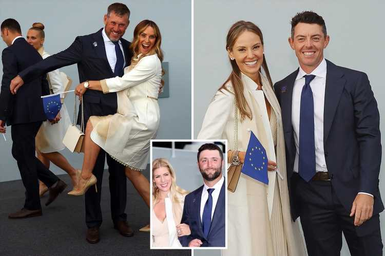 Rory McIlroy and Jon Rahm's wives support Europe's Ryder Cup stars dressed in cream at opening ceremony