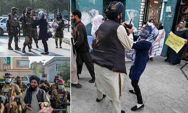 Taliban thugs push women protesters and fire shots into the air