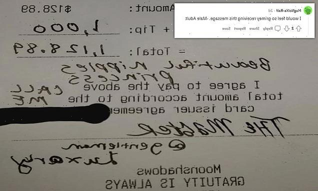Waitress shares creepy note left by male customer who left her $1K tip
