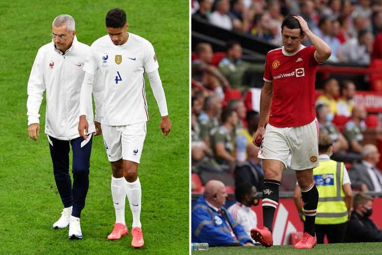 Man Utd facing injury crisis ahead of tough fixture run with Varane and Maguire doubts… so will Jones be recalled?