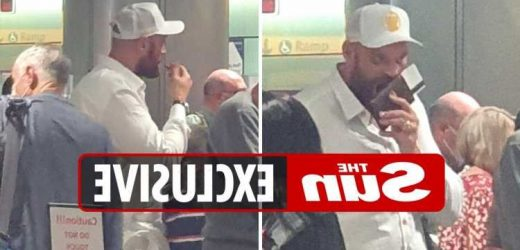 Tyson Fury and Paris look exhausted on UK return after partying but people's champ still queues at passport control